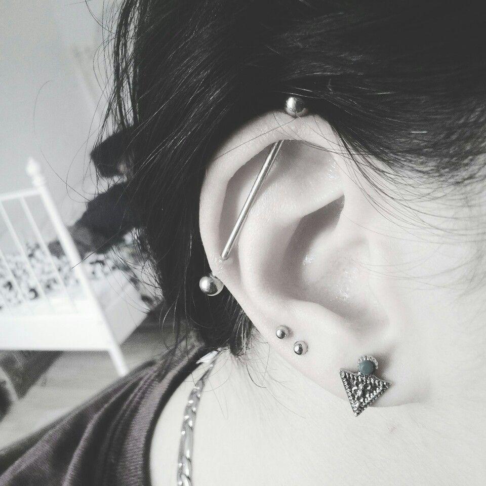 #piercing #industrialpiercing #pierced #ear #piercedears