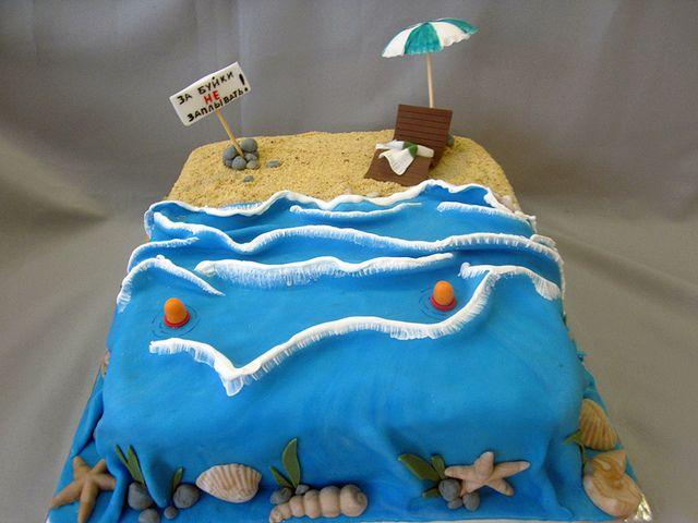 Beach Waves Birthday Cake Birthday cakes Cake and Beach cakes