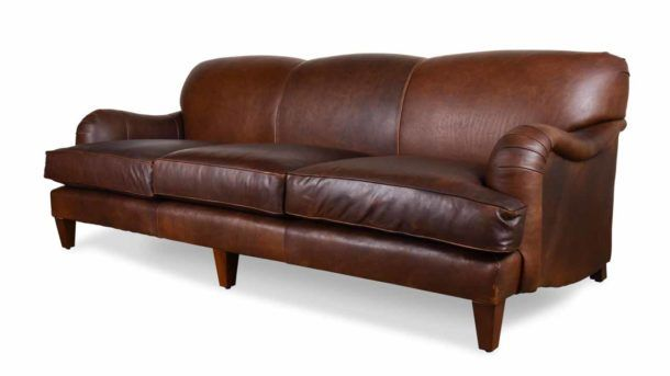 English Arm Tight Back Leather Sofa 96 X 42 Berkshire Bourbon