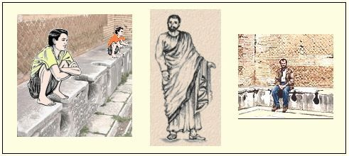 The ancient Romans used the posture shown on the left (Togas were more convenient than trousers, and provided some degree of privacy.)