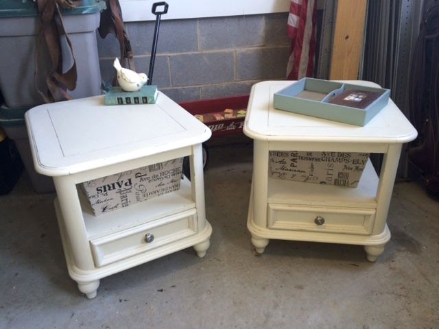 2 end tables painted in old white with clear wax