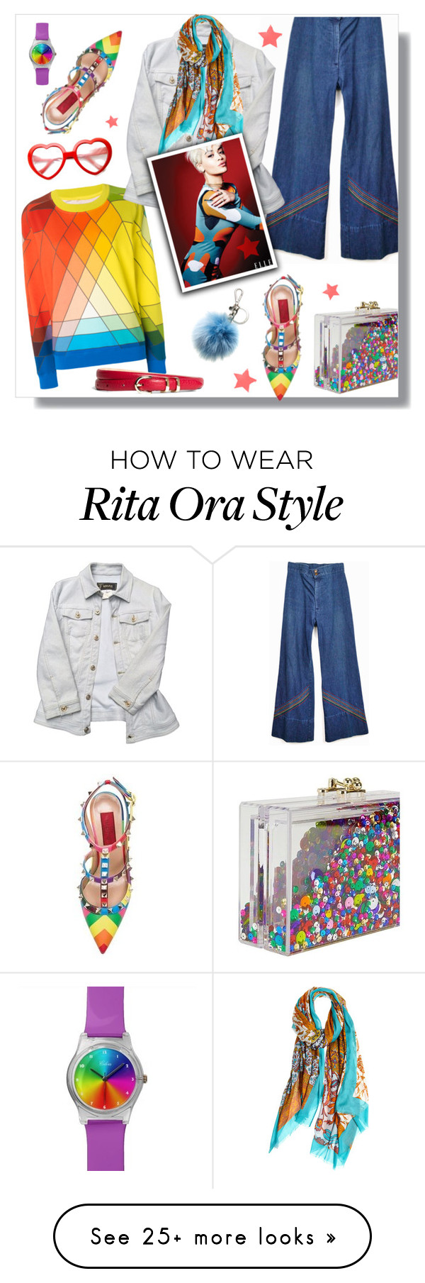 """Rainbow"" by hellodollface on Polyvore featuring Ashlyn'd, Levi's, Versace, Calypso Private Label, Brooks Brothers, Michael Kors, women's clothing, women's fashion, women and female"
