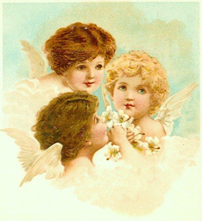 Сделать, открытки с ангелочками ретро
