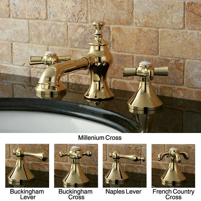 French country widespread polished brass bathroom faucet for Bathroom design kingston