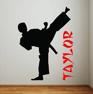 Personalized Karate Boy Wall Decal Removable Wall Lettering