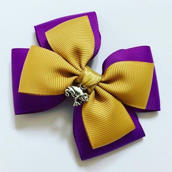 Adult Purple and Yellow Stripe Satin Bow Tie Fancy Dress Accessory Harry Potter