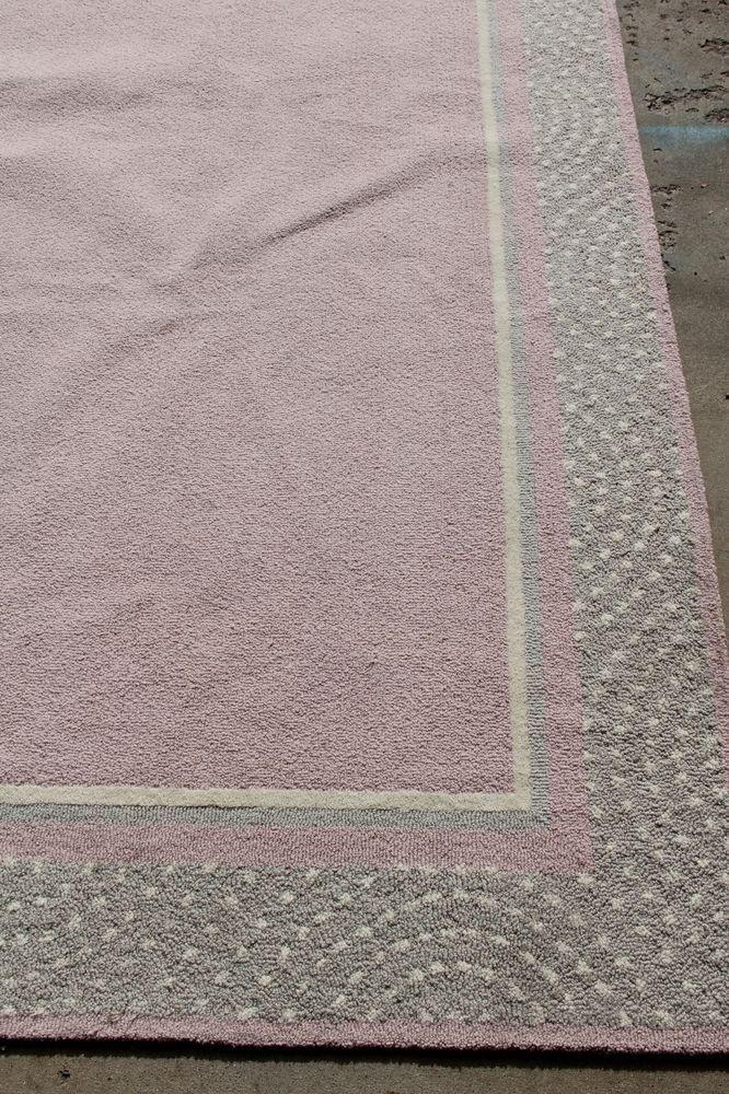 Pottery Barn Kids Polka Dot Border Rug 100 Wool Pink 8x10