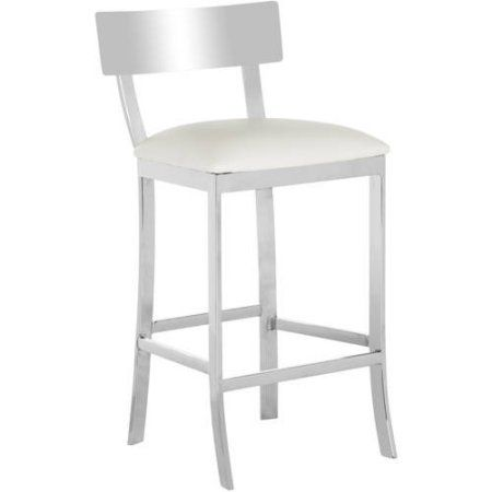 Safavieh Abby 35 inch Stainless Steel Bicast Leather Counterstool, White