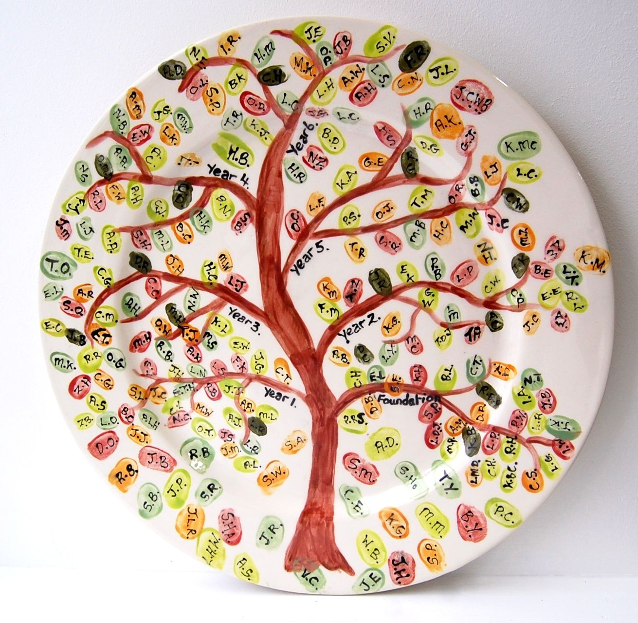 country love crafts ceramic pottery painting ideas handpainted fingerprint keepsake school plate pottery design ideas - Pottery Design Ideas