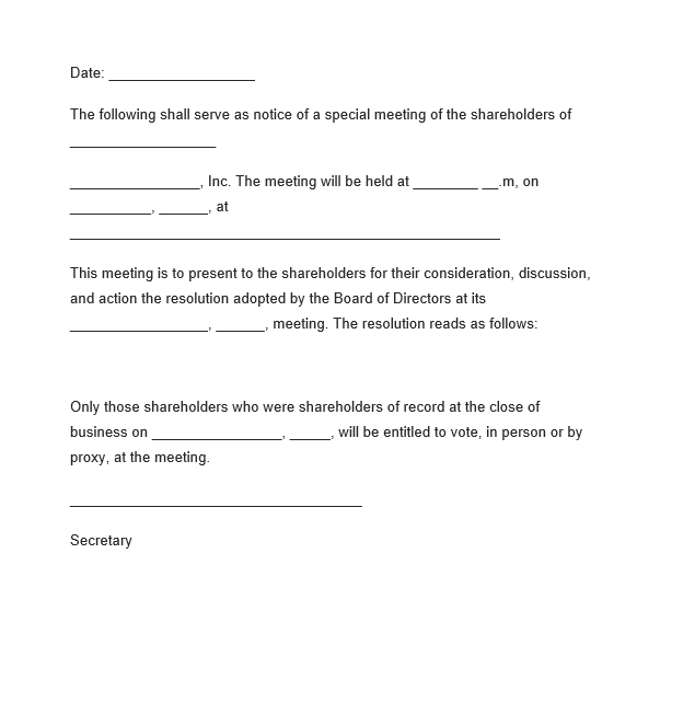 meeting notice templates 4 free word excel pdf formats