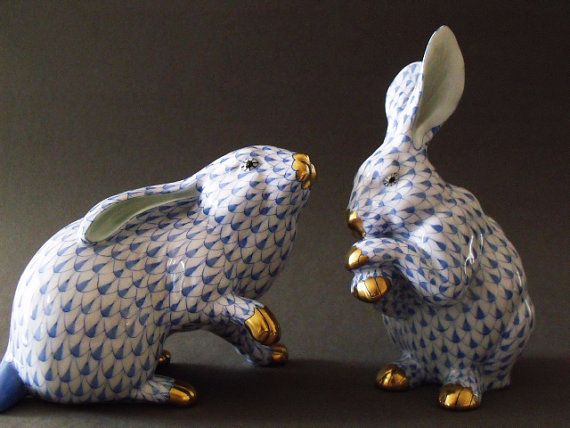 Herend Bunny 24k gold plated blue fishnet paw up by theHaresNest