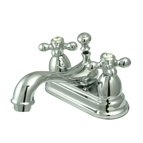 Kingston Brass Restoration Double Handle Centerset Bathroom Sink Faucet with Brass Pop-up