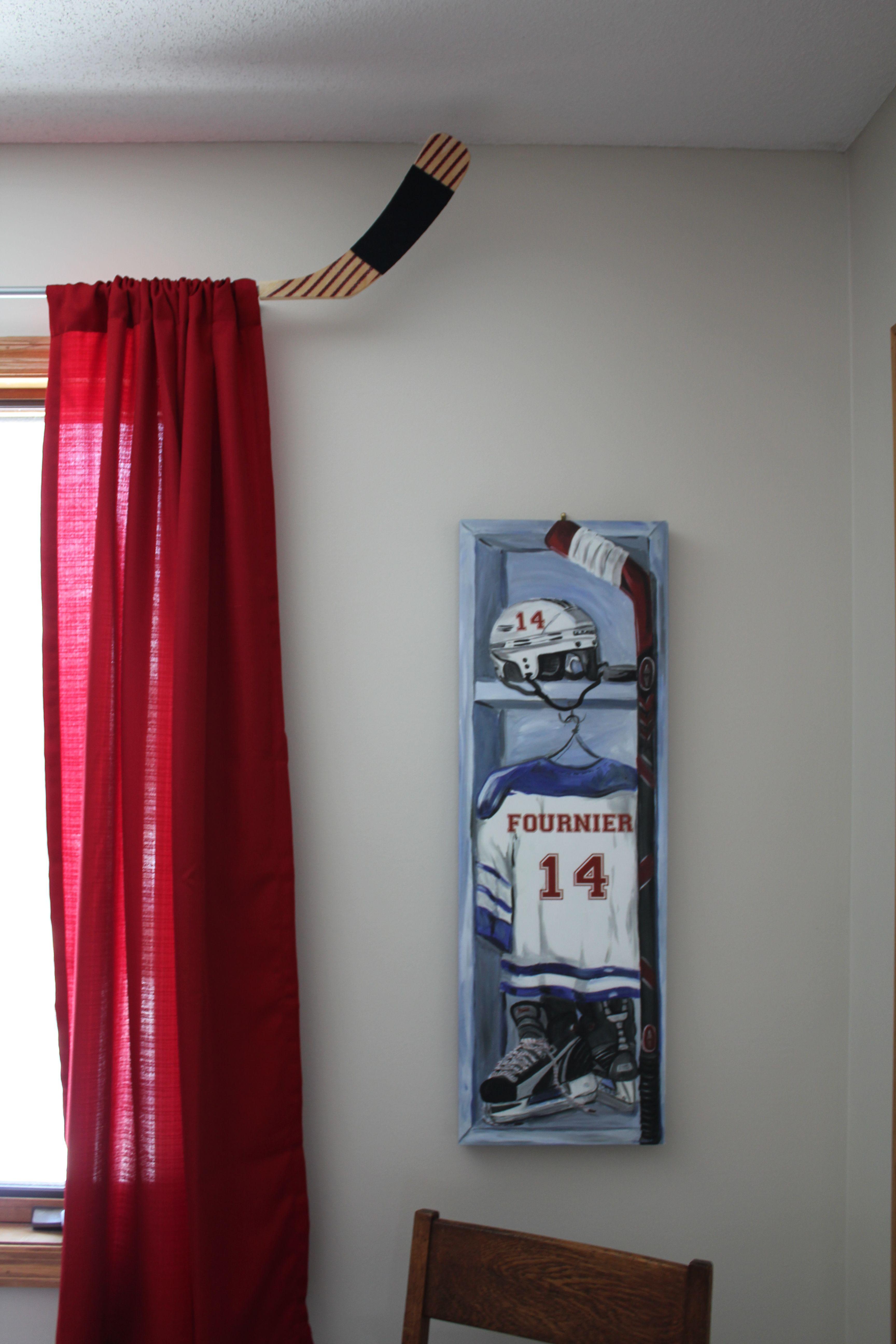 Hockey Stick Curtain Rod And Custom Canvas To Look Like Hockey