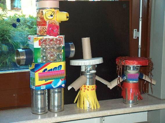 Roboter basteln mit m ll ideen f r kids - Weihnachtsbeleuchtung auayen figuren selber bauen ...