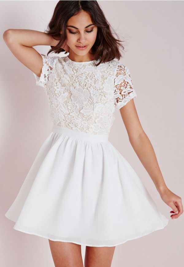 Lace Short Sleeve Skater Dress Whitenude - Dresses -6472
