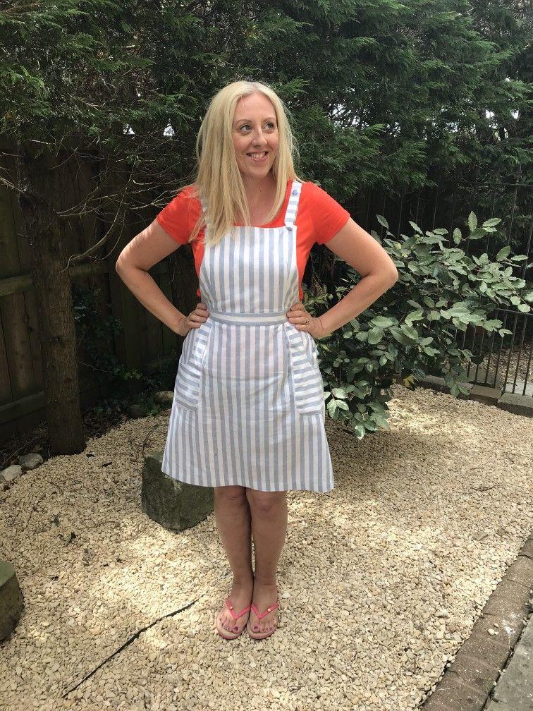 d8f21437781 White Blue Striped Linen Pippi Pinafore Spotty Buttons Cross Over Straps  Pleated Skirt Jennifer Lauren