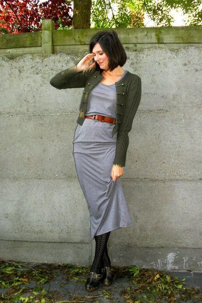 0bf1f7579d black tights - gray dress - green cardigan - brown - brown belt ...