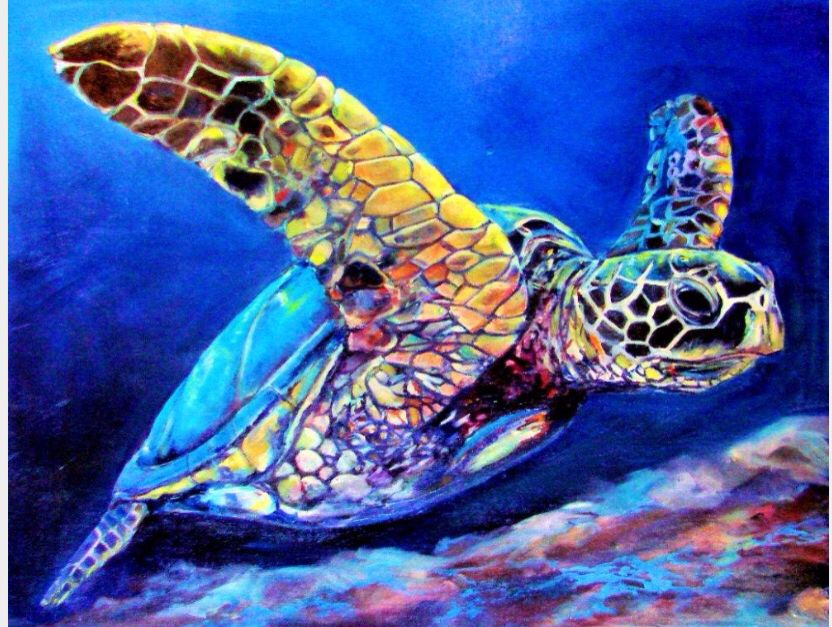 Beautiful painting  of a turtle