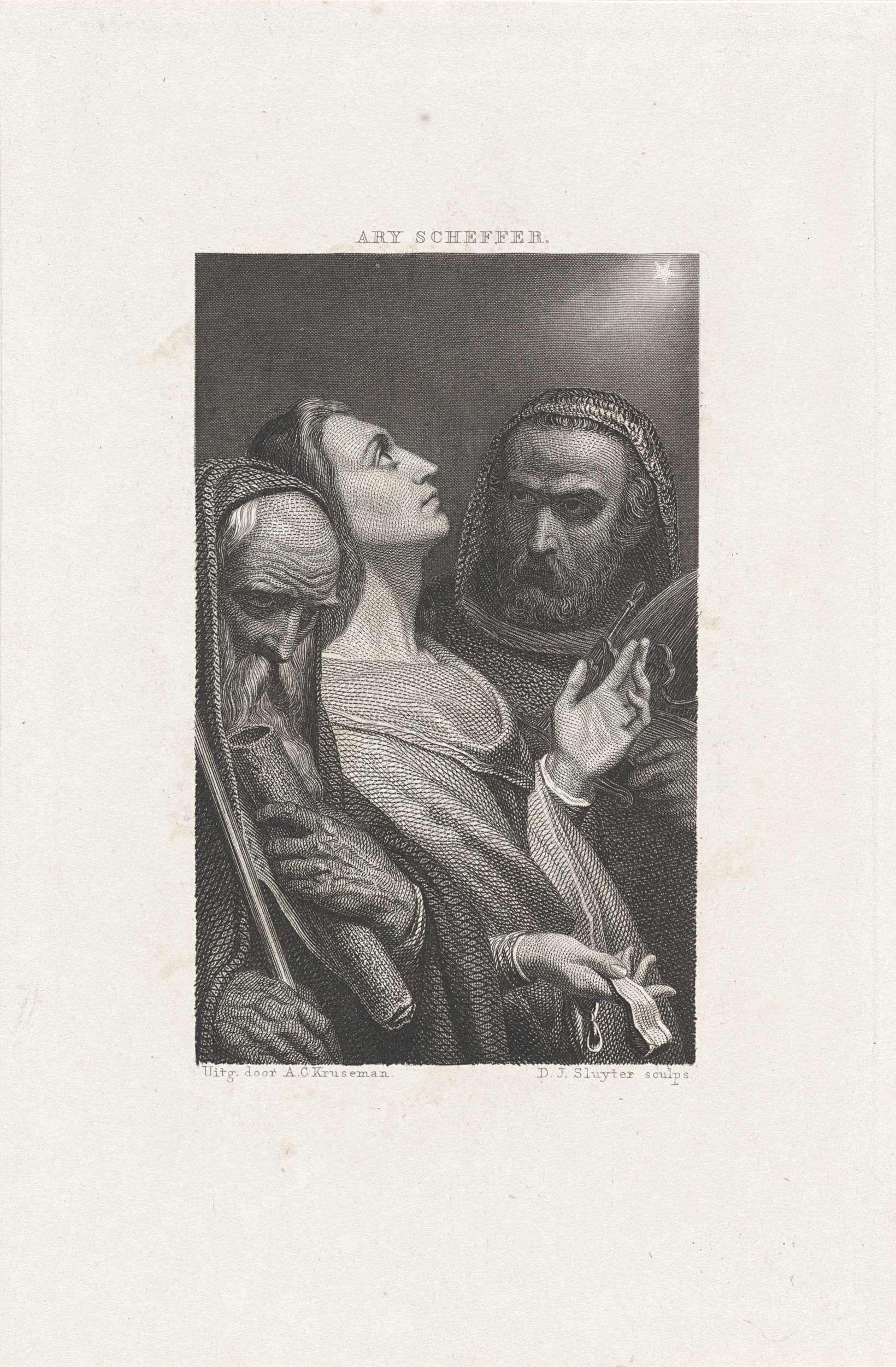 Dirk Jurriaan Sluyter | Drie wijzen uit het Oosten, Dirk Jurriaan Sluyter, Arie Cornelis Kruseman, 1854 | Melchior, geflankeerd door Balthazar en Caspar, kijkt omhoog naar een stralende ster. Zij dragen geschenken in hun handen.