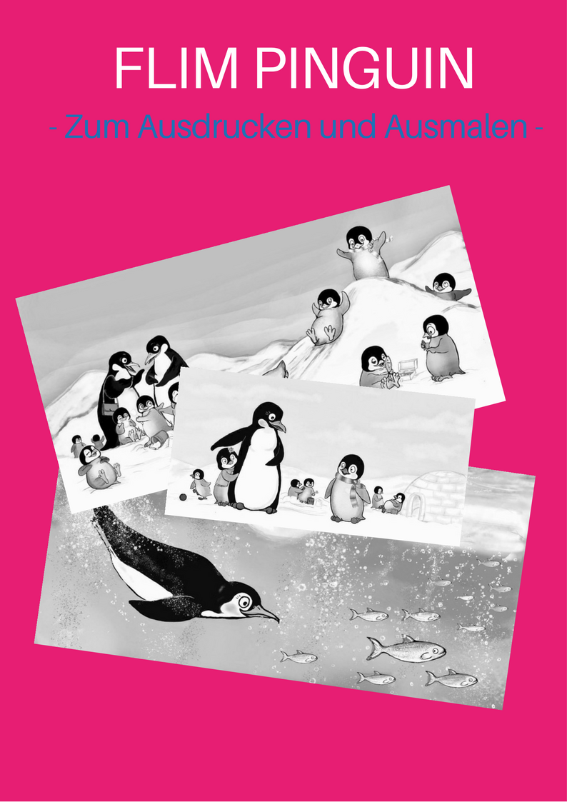 Flim-Pinguin-Malvorlage für Kinder