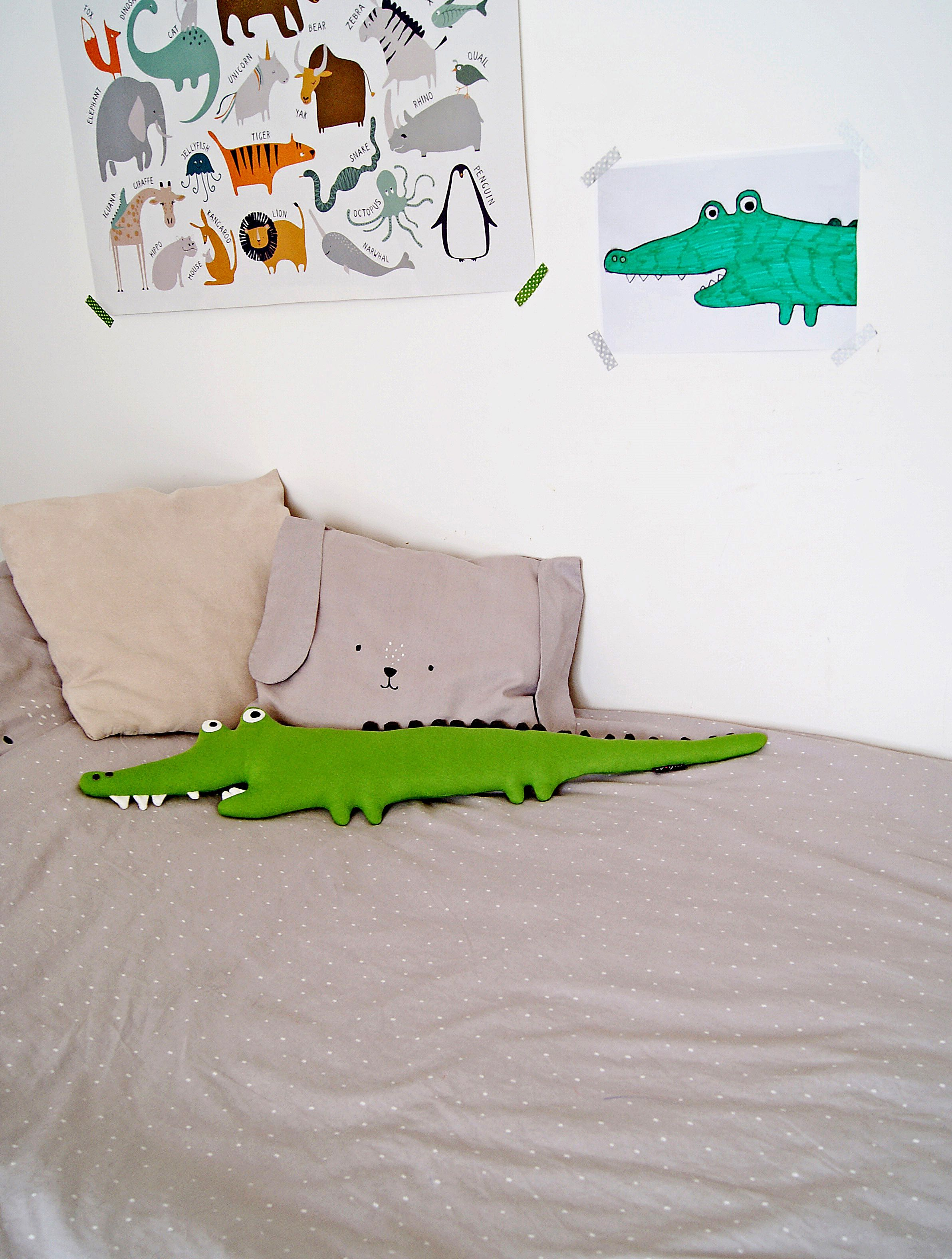 Stuffed animal ALBERT CROCODILE. Stuffed toys, jungle animals, stuffed crocodile, jungle plush animals, decorative bed pillow, nursery toys