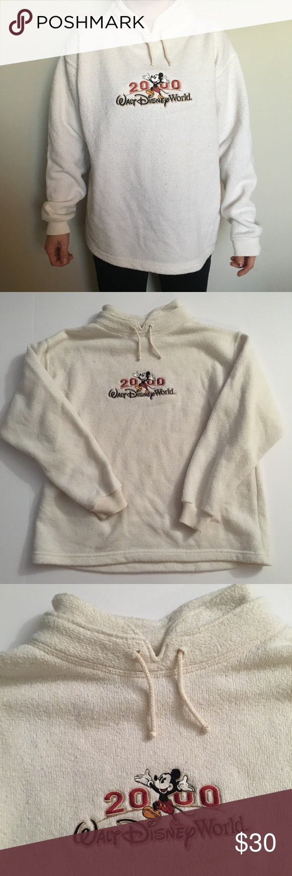 Vintage 2000 Walt Disney world sweater •Vintage 2000 Walt Disney world sweater  •50% cotton, 50% polyester  •Size: Small  •All Items checked for stains, holes, and excessive wear: If no issues noted then item is in very good condition!  •Comes from smoke free home •Have some furry friends. All items are freshly laundered and lint rolled before being shipped out but a few hairs might be on clothing •Open to offers  •Bundle discounts available  •Ships within 24 hours of purchasing, will…