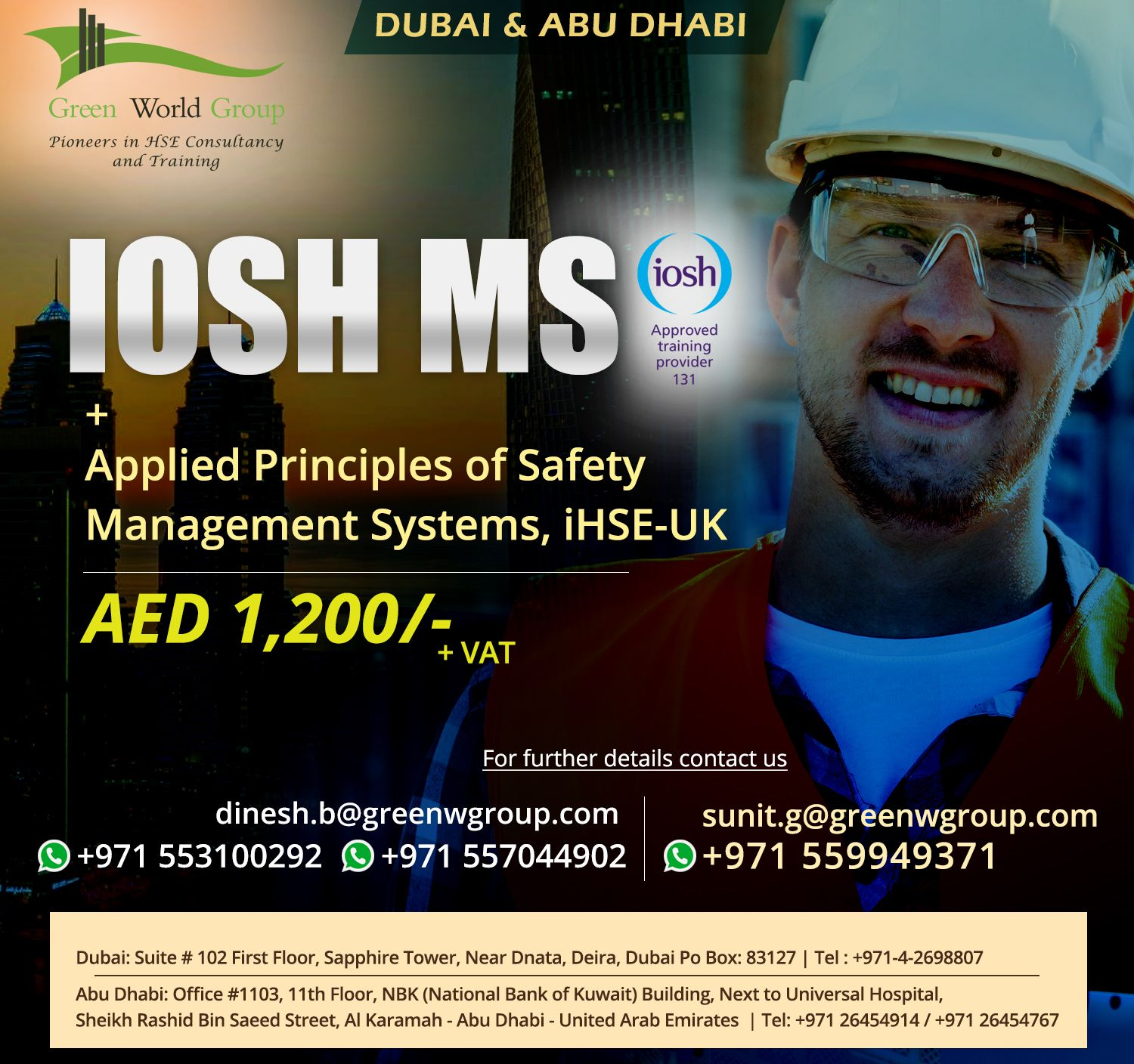Join IOSH Managing Safely Course in Dubai Occupational