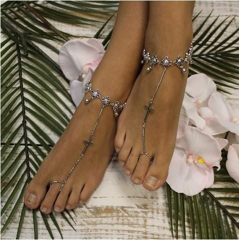 barefoot sandals gold gypsy bohemian wedding foot jewelry