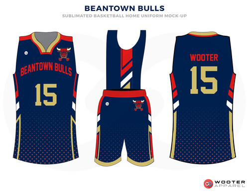 a8535cf42d97 BEANTOWN BULLS Blue Red Gold and White Basketball Uniforms