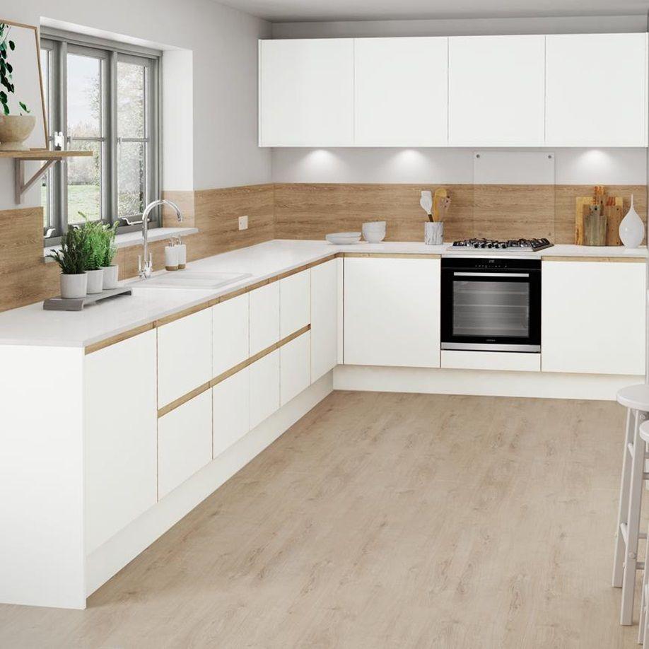 Oak-trim cabinets in 2020 | White kitchen oak trim, Modern ...