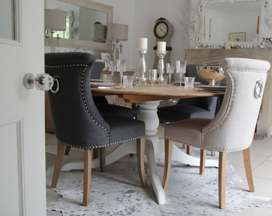 Dining room chairs with back ring studded no 10 for Studded dining room chairs