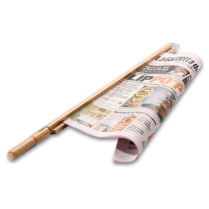 Zeitungshalter Buchenholz  19,00 Euro  Länge mit Haken 74 cm. Gewicht 240 g