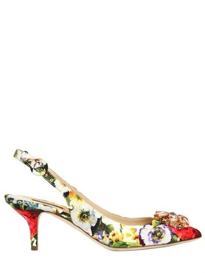 bf1e17a4fd0 Dolce   Gabbana 60mm Floral Printed Cotton Brocade Pumps on shopstyle.com