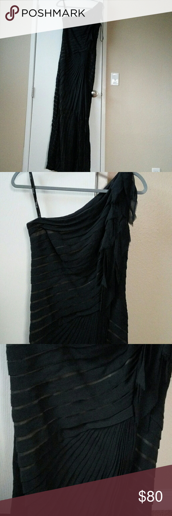 """Fabulous one shoulder dark blue night long gown It's a beautiful night grow from 💯% silk. Lining from 100% polyester.  Burst 26"""", waist 30"""".  Very good condition, just need dry cleaning. Feel free to make an offer 😉😍 Tadashi Shoji Dresses One Shoulder"""