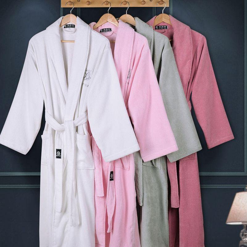 0af80fe835 Cotton women bathrobe men sleepwear nightgown for girls blanket towel  fleece thickening lovers long soft plus size autumn winter