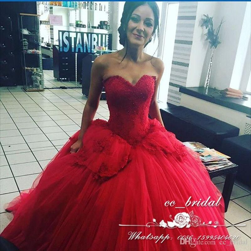 Puffy Tulle Ball Gown Red Quinceanera Dresses 2017 Charming ...