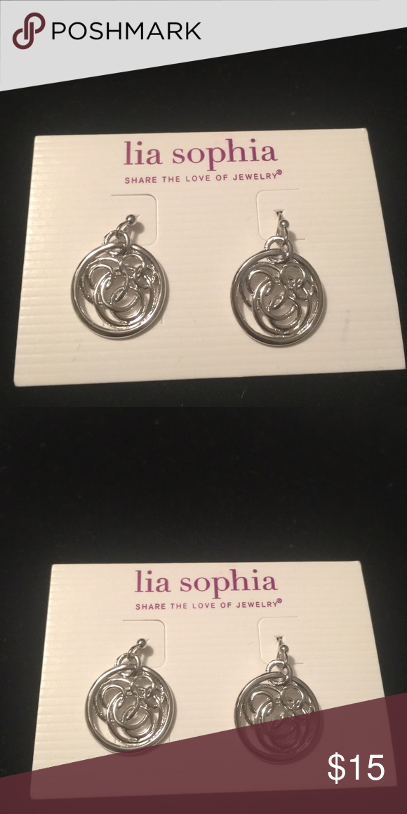 Lia Sophia Silver Twine Earrings Brand new beautiful Lia Sophia Shiny silver twine earrings. Very sturdy, used the word twine for the cool dangling design. From a pet free and smoke free home. Lia Sophia Jewelry Earrings
