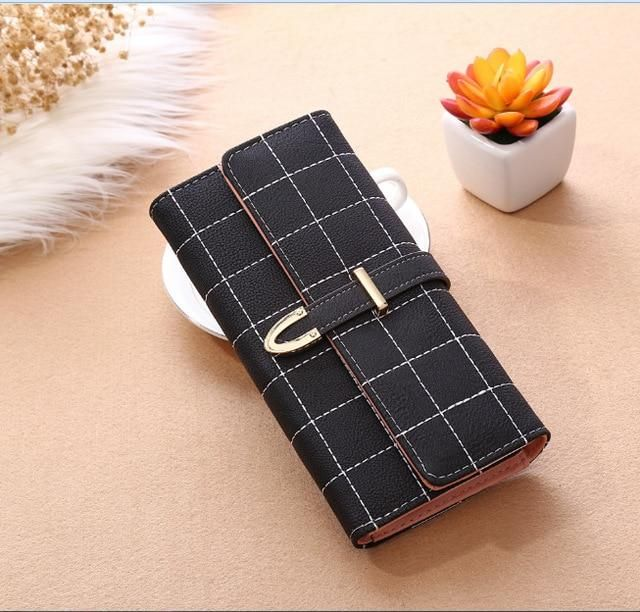 Photo of New Grid Women Purse Scrub Women Long Wallets Lady Card Holder Clutch Coin Purse Matte Leather Women Wallet Carteira Feminina QL