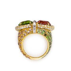 Side view of Tony Duquette tourmaline and peridot ring.