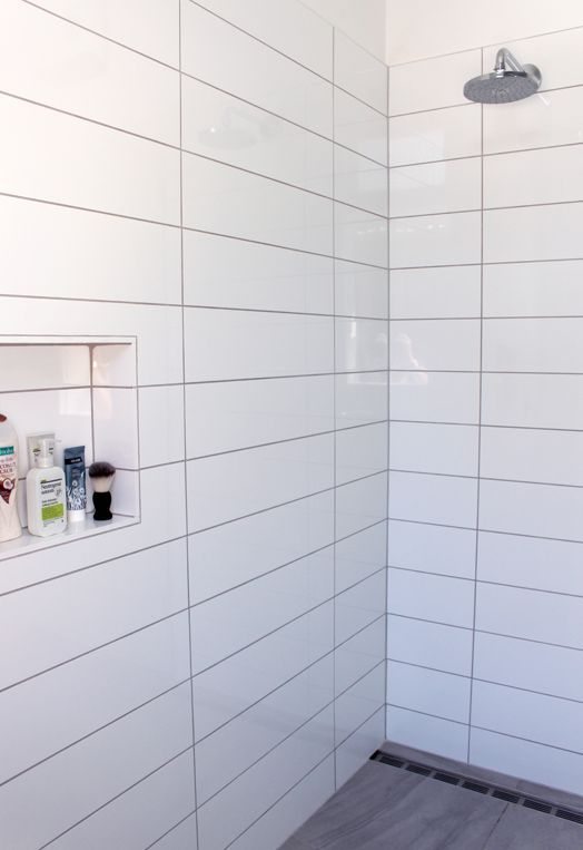 Grey Concrete Tile In The Walk In Shower, White Tile Grey Grout. Find This  Pin And More On Bathroom Wall Pattern ...