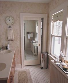 A Great Example Of Using Pocket Door With Mirror To Enlarge The Space Visually