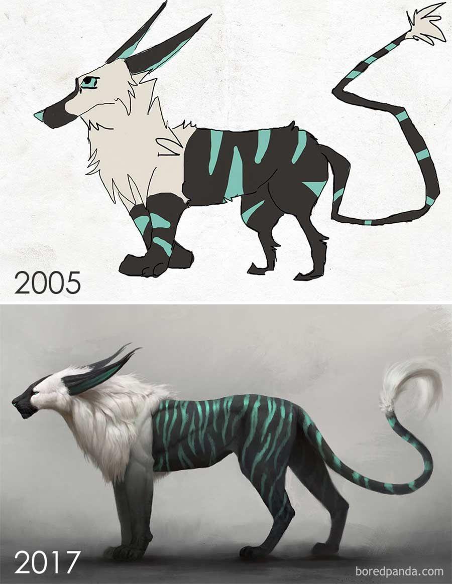 Jahre später das identische Motiv nochmals malen - Draw This Again! Challenge zeigt Künstlerentwicklung