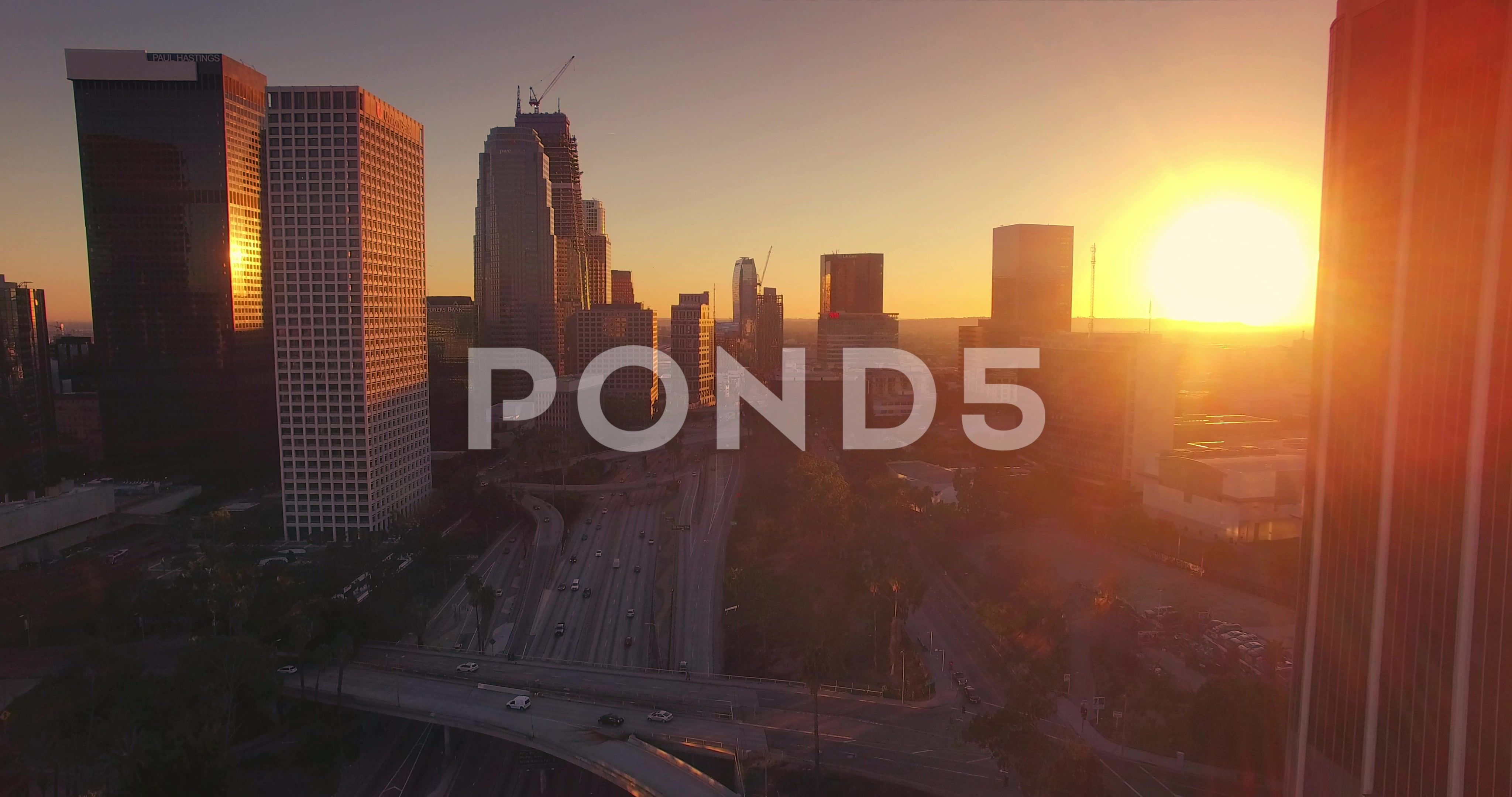 Aerial View Of Downtown Los Angeles Skyline At Sunset Camera Flying Forward 4k Stock Footage Los Angele Aerial View Los Angeles Skyline Downtown Los Angeles