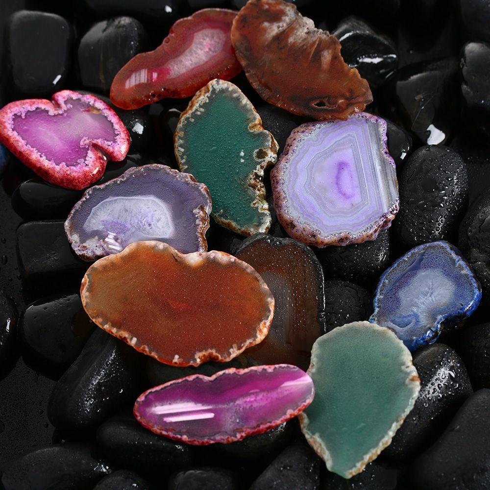 Natural Polished Crystal Slice Irregular Agate Healing Reiki Stone Pendant NEW