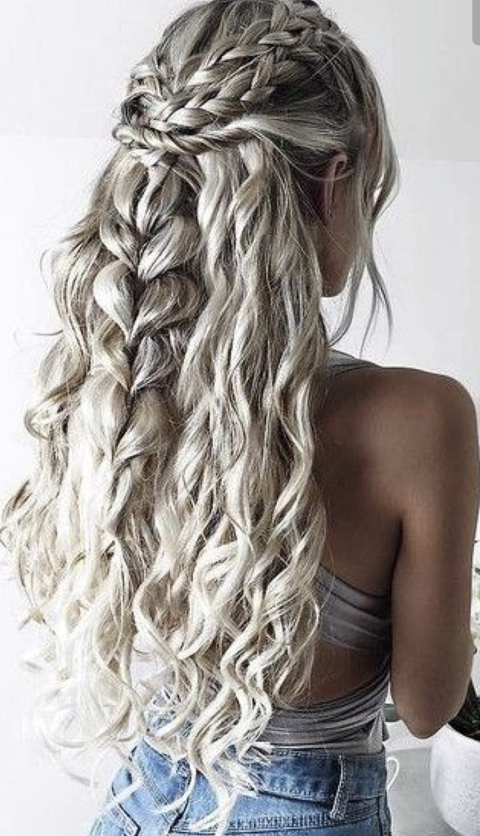 Braids With Natural Looking Curls The Hair Color Is Gorgeous Too Grey Curly Hair Festival Hair Braids Long Hair Styles