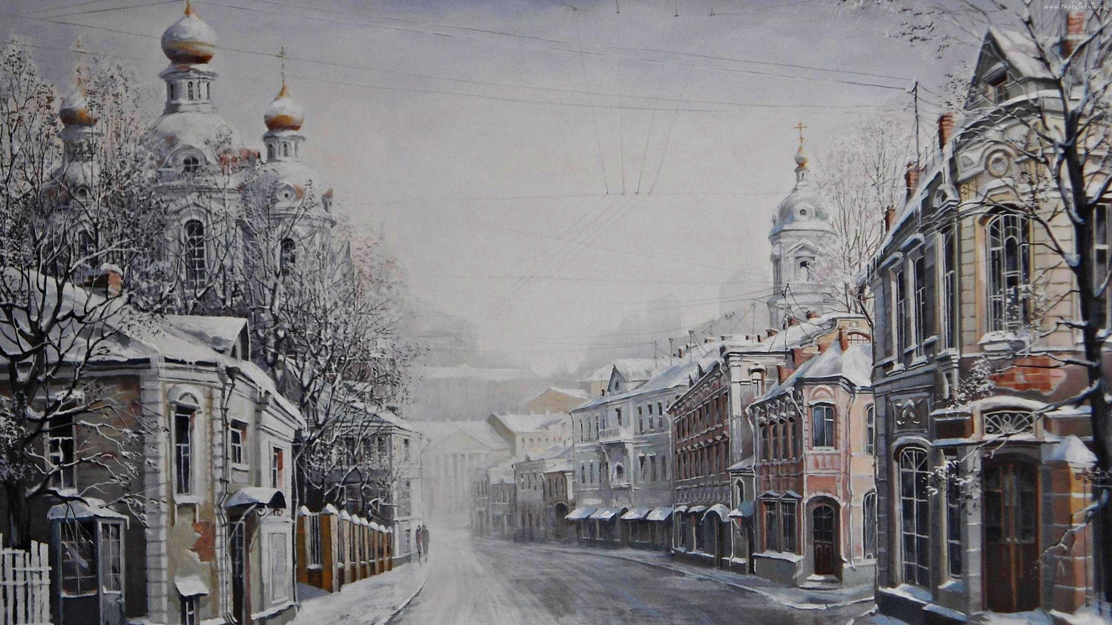 Obraz, Zima, Miasto, Ulica