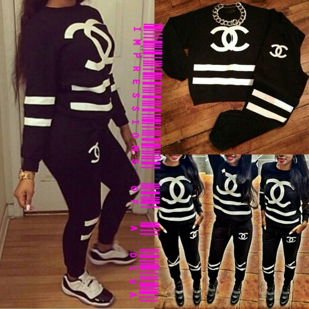Chanel Cc Inspired Sweatsuit Jogger Knit Pullover Sweatshirt And