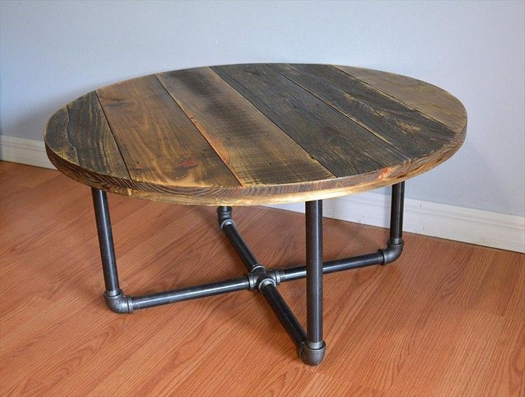Diy pallet round coffee table plans pallets legs and coffee Homemade coffee table plans