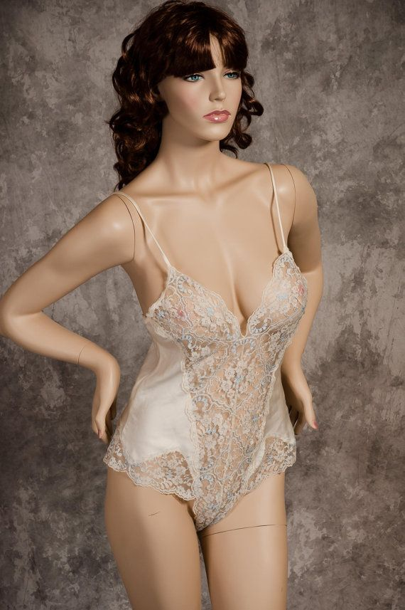 f1b81e746 Vintage Teddy Lingerie Victoria s Secret Satin   Lace Ivory Teddy ...