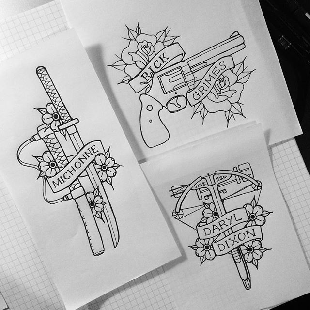 12kathylees12 さんのinstagramをピンしています Time To Scan Them In And Colour Walking Dead Tattoo Walking Dead Drawings Guns Drawing